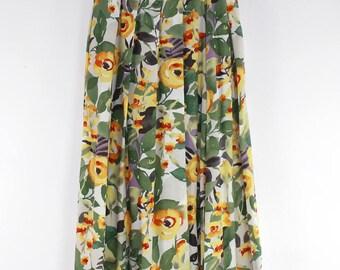 """Vintage Pleated Orange Floral Pleats Skirt - Waist 28""""-100% Rayon"""