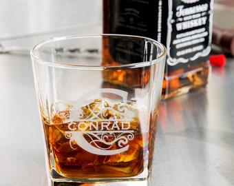Monogram Whiskey Glass/Engraved Rocks Glass 9.25 oz. custom whiskey glass, engraved whiskey glass, personalized whiskey glass