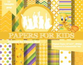 Digital Papers, Tweety Bird, Piolin, Girls, Invitation, Background, Birthday, Clipart, Papers for kids