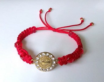 Very Nice Red Bracelet with Saint Benedict Charm