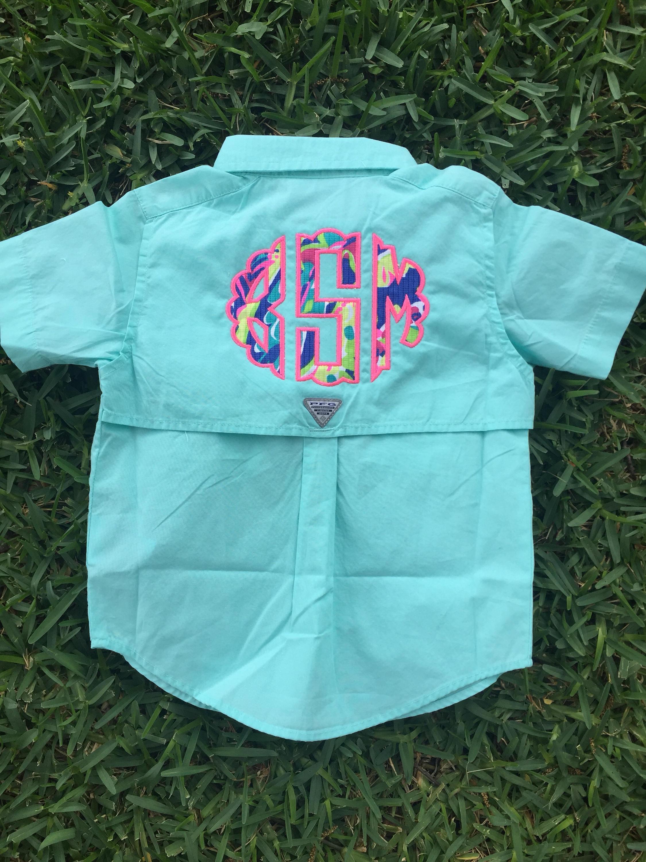 Kids lilly pulitzer monogrammed fishing shirt columbia for Toddler columbia fishing shirt