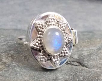 Large RAINBOW MOONSTONE and 925 Silver Poison Ring Size Q, R 1/2