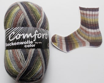sock yarn 100g (6,-Euro/100g), brown-gray-green, 4ply (1116b.01)