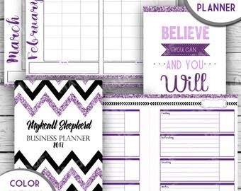 2017 DIGITAL BUSINESS PLANNER, Purple Glitter, Direct Sales Inspired Business Planner, Motivational Planner, Goal Planner, Organization