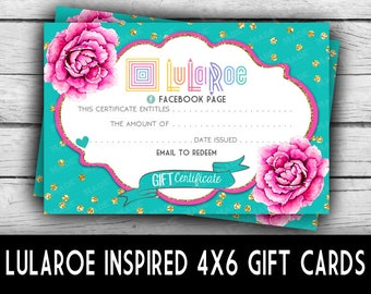 Printed LuLaRoe GIFT CERTIFICATES-CHEVRON - Teal/Peony, Business Stationery, Marketing Tools, Printed Stationery, Direct Sales, Gift Cards