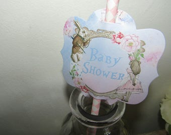 12 Alice in Wonderland Baby Shower Straw ,Pen, Cupcake Cake Toppers