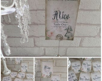 8 Vintage Alice in Wonderland Table Number Name Cards Wedding,Tea Party