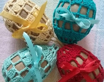 Crochet Easter Eggs set of 4,Crochet Easter Eggs,Crochet Easter, Easter Decoration,Crochet Easter Basket Decor,Easter Table Decoration