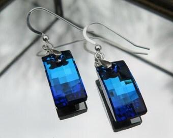 Swarovski Crystal Earrings, Bermuda Blue
