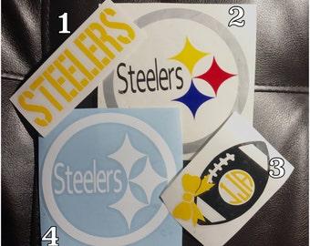 Steeler decals. Here we go. Pittsburgh dad. Pittsburgh steelers. Stiller decal. Steeler car decal.