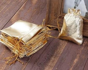 20 bags pouches 9x7cm Golden packaging