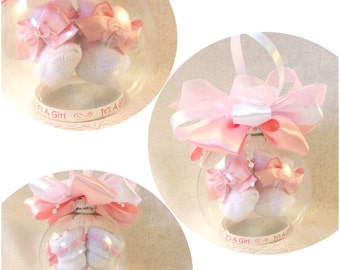 Baby's First Christmas Ornament Gift for Girl - Personalized Ball Ornament with Floating Baby Booties - Pink Lace and Pearls