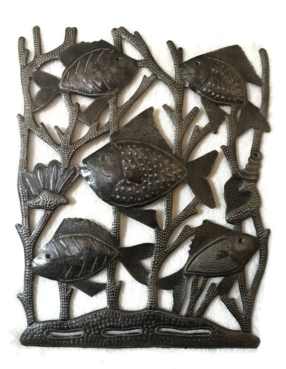 "Let's Go Fishing, Metal Fish Wall Decorative Art,13"" X 17.5"""