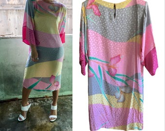 Pastel Silk Dress Vintage womens 80's design by Flora Kung size 10 Large great for oversized leopard spots in pinks purple turquoise silk