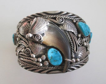 Large Native American Indian Robert Kelly IHMSS Turquoise Claw Sterling Bracelet