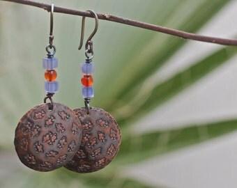 Natural stone copper earrings, Sterling silver hooks, Fish earrings, Hammered stamped earrings, Oxidized earrings, Blue handmade earrings,