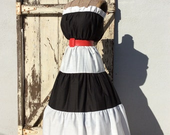 Vintage 1950s Patio Style Black and White strapless Dress Size Large