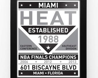 Miami Heat Black & White Modern Team Print Framed