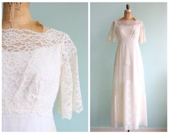 Vintage 1960's Netted Lace Empire Waist Gown | Size Small