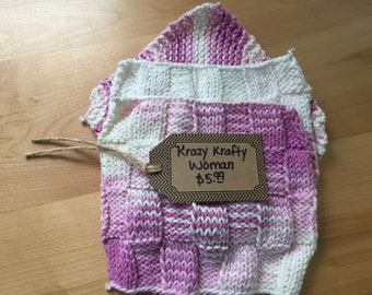 3pc Knitted Dish Coths or Wash Cloths = Size 8X8