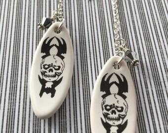 Skeleton Surf Board Earrings Skull white stoneware earring