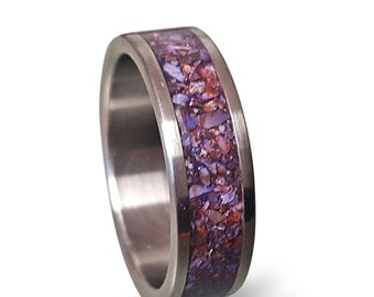 Titanium Ring with Crushed Amethyst Inlay, Purple Amethyst Ring, TitanRing, Mens Wedding Band, Womens Ring, Mens Ring