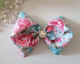 """Vintage floral 6"""" hair bow, pink bling hair bow, Rose Hairband bow"""