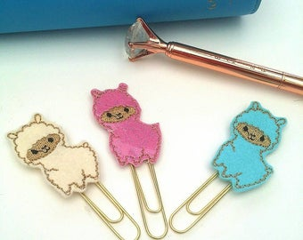 Llama planner clip - paper clip -planner accessories- pink blue cream