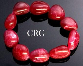 Classic Tumbled 15-20mm Ruby Quartz Beads Stretch Bracelet (BR49DG)