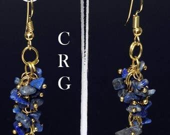 Gold Plated Lapis Grape Cluster Earrings (GC22DG)