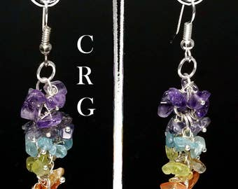 Silver Plated 7-Stone Grape Cluster Earrings (GC2DG)