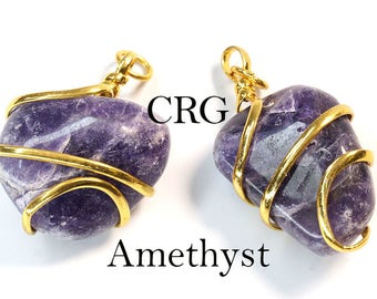 Gold Plated Spiral Wrapped Tumbled AMETHYST Pendant (TU24DG)