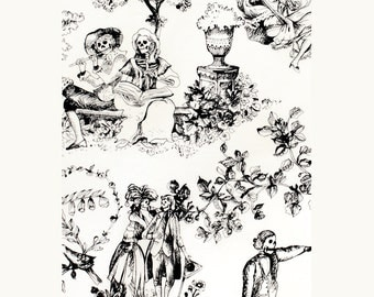 Toile skeletons, fabric by the half yard, Alexander Henry, The Romantics, Quilt fabric, Black white, Craft cotton, Skulls, Day of the dead