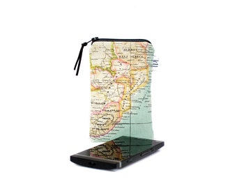 Map phone sleeve, iPhone sleeve, World map Phone pouch, Canvas, iPhone case, Gadget pouch, Mobile phone pouch, Random map print, Gift