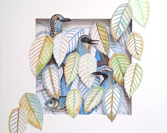 3 + 1 Cut out watercolor drawing of leaves and birds