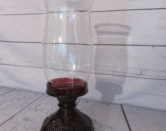Avon Ruby Red 1876 Cape Cod Collection Hurricane Candle Holder, Cranberry glass, Red Dinnerware, Avon Ruby Red, Collectible Candle Holder