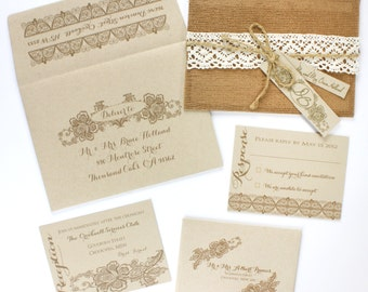 Wedding Invitations, Lace Invitation, Burlap Invitation,  Burlap Wedding, Barn Wedding, Barn Invitations, Romantic Wedding  | RUSTIC ELEGANT