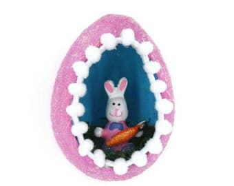 Easter Decoration, Easter Egg Diorama, Vintage Style Easter Sugar Egg, Easter Ornament, Easter Decor, Easter Bunny, Easter Gift
