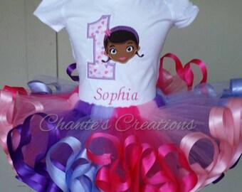Doc Mcstiffins 1st birthday embroidery tutu set