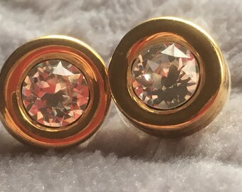 Vintage Swarovski Clear Glass Stone Gold Tone Metal Stud Earrings/Crystal Earrings/1990s/Round Earrings/diamanté earrings/Wedding earrings