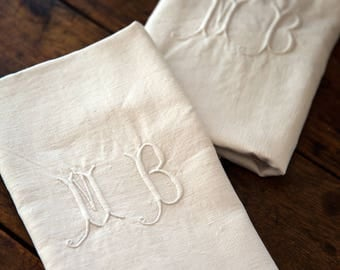 2 Vintage French Linen Towels - XL Size - Monogrammed MB - Ultra Soft - Country Chic Kitchen - Free Shipping Within the UDS