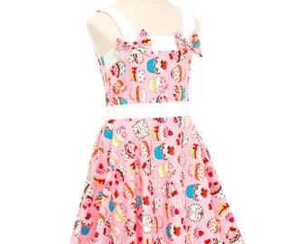 Pink Cupcake Dress Girls Dress, Birthday Dress, Party Dress, Toddler Dress, Princess Dress, Children's Dresses, Fairy Dress, Kawaii Dress