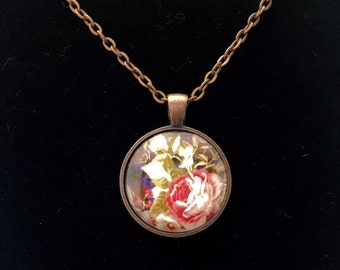 Evening Flowers round glass pendant necklace (ACC7-A6)