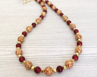 Womens Jewelry Beaded Red Necklace Red Bead Necklace Two Tone Glass Bead Necklace Short Red Necklace Beaded Choker Necklace Casual Everyday