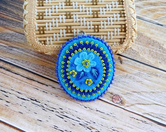 Blue beadwork brooch, folk style brooch,  blue brooch, embroidered brooch, felt brooch