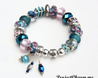 PINK & BLUE iCANDY~with Genuine Pandora Bracelet Option and European Style Beads