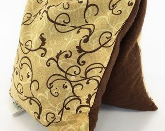 Hot Cold Corn Bag, Chocolate Browns, Microwave Pack, Small Swirls, No Scent