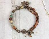 Turquoise jasper bracelet. Rustic bracelet with stones. One of a kind jewelry for her. Multistrand bracelet for mom. Czech glass bracelet.