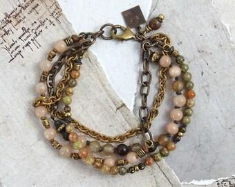 Sunstone bracelet Jasper bracelet Agate bracelet Sunstone jewelry Peach jewelry Earthy bracelet with stones Boho jewelry Cowgirl jewelry