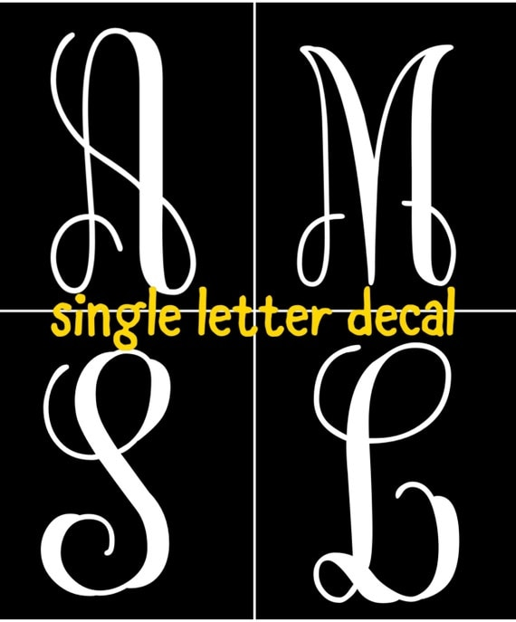 Letter decal letter sticker decals for yeti cups for Letter decals for cups